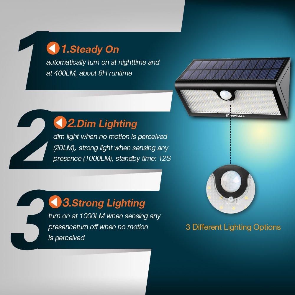 Zanflare Lámpara Solar (71 LED 2 Pack) Zanflare Lámpara Solar con Sensor de Movimiento 71 LED Luz, Lámpara de Panel Solar Movimiento y Energía Solar ...