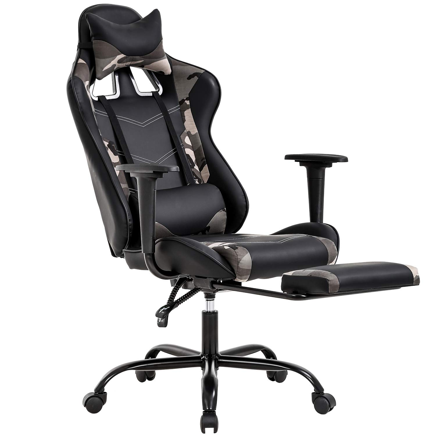 PC Gaming Chair Ergonomic Office Chair Desk Chair with Lumbar Support Headrest Arms Footrest Modern Task Rolling Swivel High Back PU Leather Computer Chair for Women Adults, Camo by BestOffice