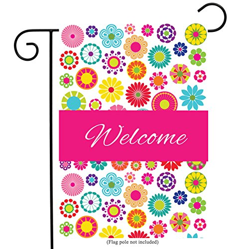 welcome floral garden flag double