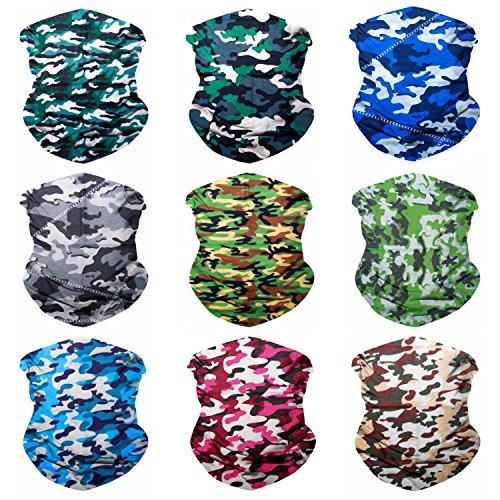 Sojourner 9PCS Seamless Bandanas Face Mask Headband Scarf Headwrap Neckwarmer & More - 12-in-1 Multifunctional for Music Festivals, Raves, Riding, Outdoors (Camo 1)
