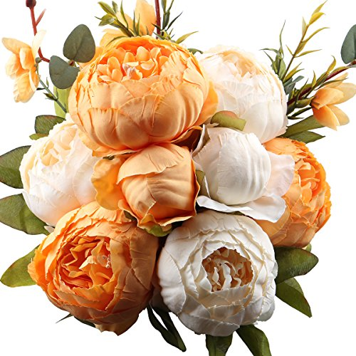 Leagel Fake Flowers Vintage Artificial Peony Silk Flowers Bouquet Wedding Home Decoration, Pack of 1 (New Orange)]()