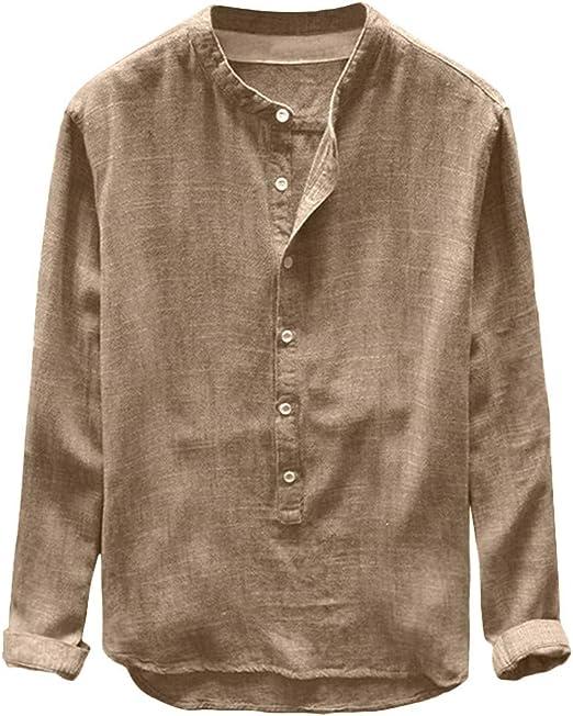 ღLILICATღ Manga Corta de Hombre Hombre otoño Invierno botón Casual Lino y algodón de Manga Larga