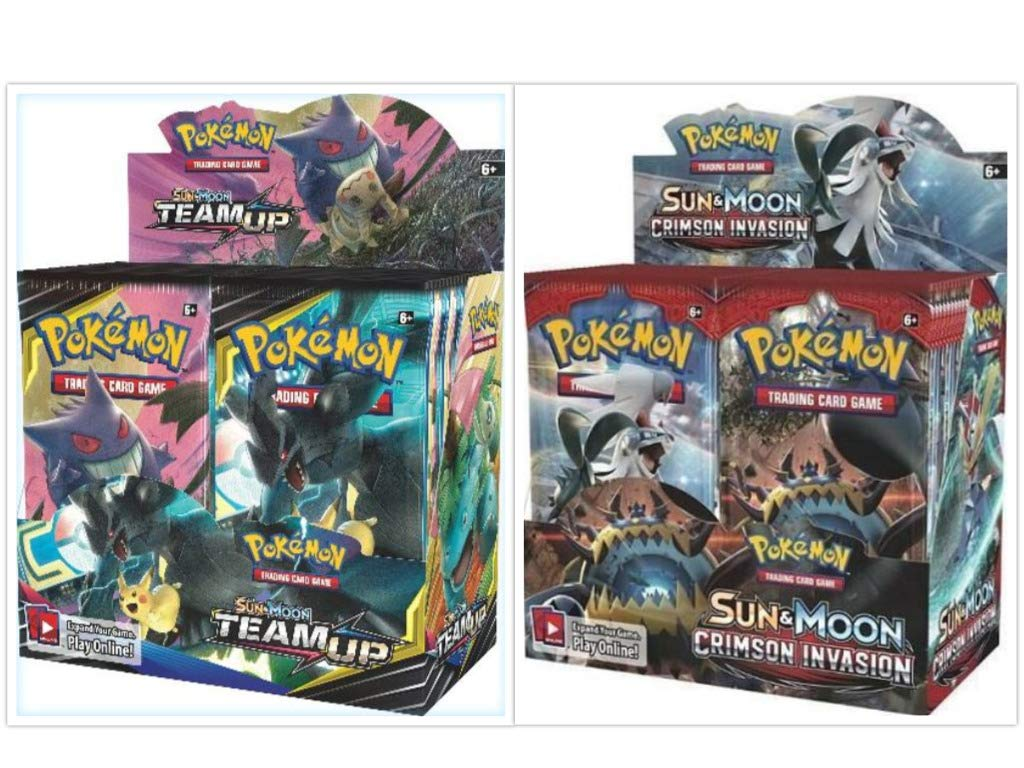 Pokémon TCG Sun & Moon Team Up Booster Box + Sun & Moon Crimson Invasion Booster Box Pokémon Trading Cards Game Bundle, 1 of Each.