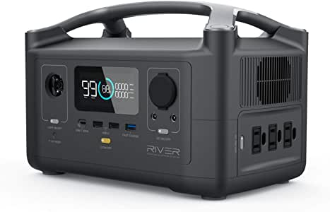EF ECOFLOW Portable Power Station River 600, 288Wh Backup Lithium Battery with 3 600W (Peak 1800W) AC Outlets & LED Flashlight, Clean & Silent Solar Generator for Outdoor Camping RV Emergencies Home