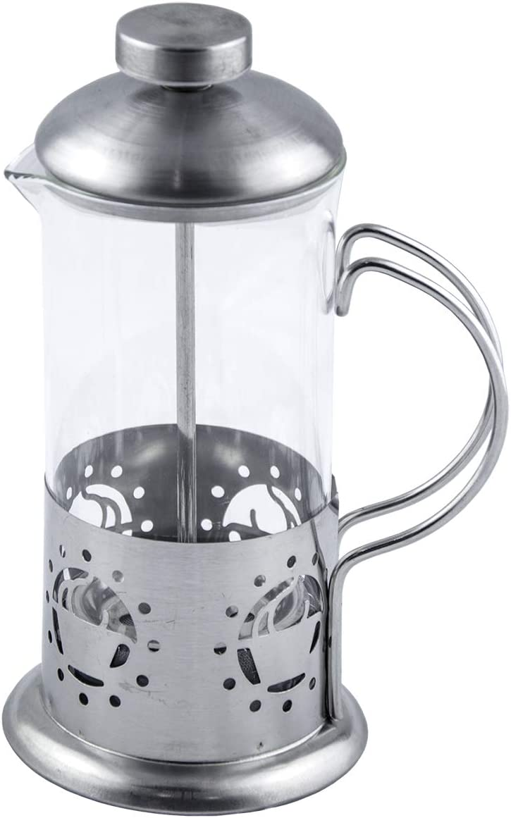 French Press Single Serving Coffee Maker, Small Affordable Coffee Brewer with Highest Filtration, 1 Cup Capacity 12 fl oz 0.4 liter Silver Silver