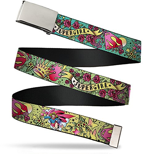 Buckle-Down 4075 Accessories Big Web Belt, Supergirl Tattoo Scene, 1.0