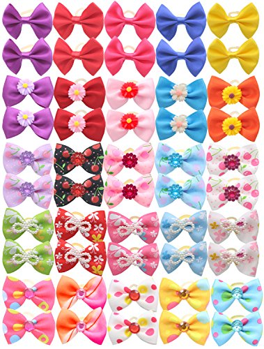 YOY 50pcs/25 Pairs Adorable Grosgrain Ribbon Pet Dog Hair Bows with Rubber Bands - Puppy Topknot Cat Kitty Doggy Grooming Hair Accessories Bow knots Headdress Flowers Set for Groomer by YOY