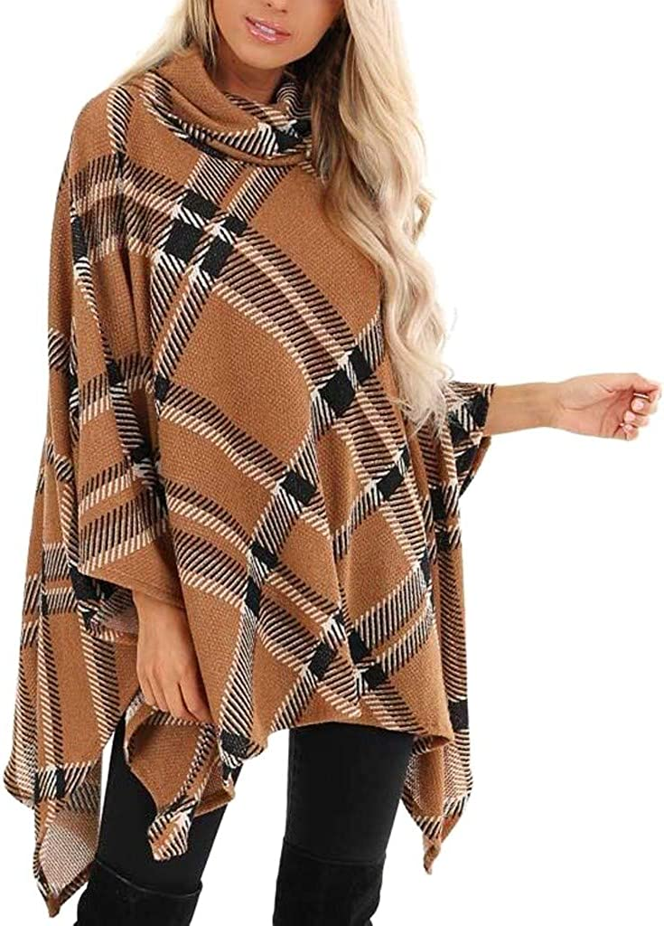 IEason Womens Cloak Shawl O Neck Irregular Long Sleeve Plaid Tops