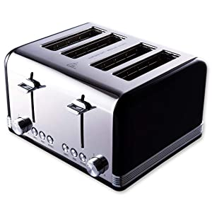 Gohyo 4 Slice Toaster | Stainless Steel with Wide Slots & Removable Crumb Tray for Bread & Bagels (Black)