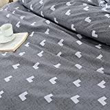KFZ Bed SET (Twin Full Queen King size) [4 piece: duvet cover, Flat sheet, 2 pillow cases] No comforter KSN Heart Love Strawberry Pineapple design for Kids Sheets Set (Arrow Love, Grey, King, 86''x94'')