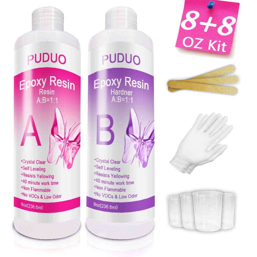 Epoxy-Resin-Crystal-Clear-Kit for Art, Jewelry, Crafts, Art & Non-Toxic Resin - 16 Ounce    Bonus 4 pcs Graduated Cups, 3pcs Sticks, 1 Pair Rubber Gloves