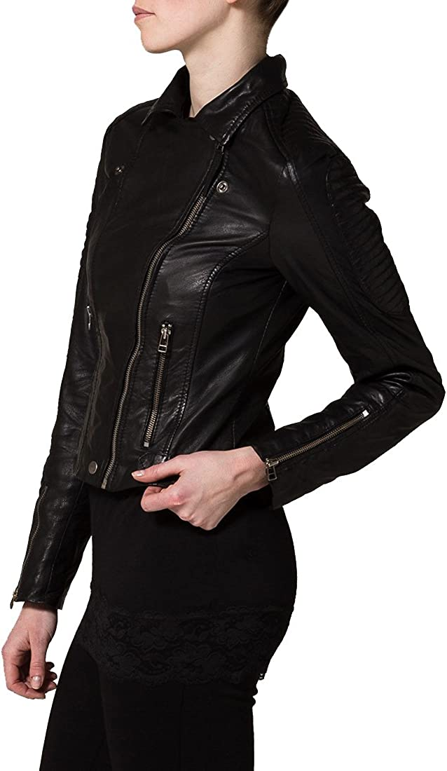 Kingdom Leather New Women Motorcycle Lambskin Leather Jacket Coat Size XS S M L XL XW116