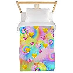 CafePress Tie Dye Heart Rainbow Twin Duvet Twin Duvet Cover, Printed Comforter Cover, Unique Bedding, Microfiber
