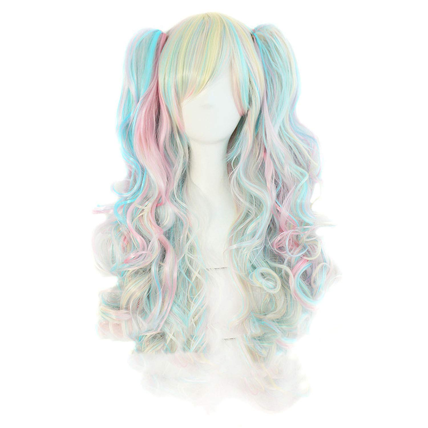 long wavy cosplay purple pink 12 colors two ponytails Heat Resistant wigs for women, #144, 26inches Fairy music Beautiful Wig