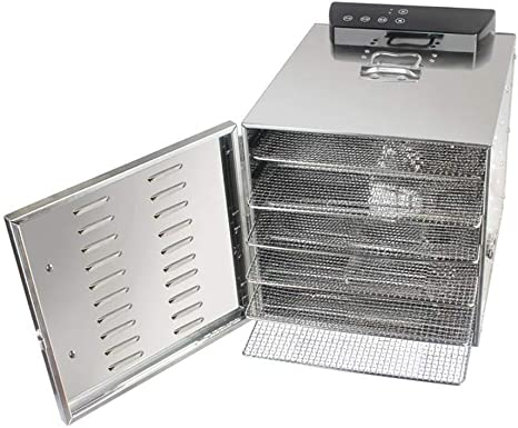 Opinión sobre L.TSA Deshidratador de Alimentos Deshidratador de Alimentos con Control de Temperatura Ajustable de Acero Inoxidable con Bandeja de Acero Inoxidable de 6 Capas, Temporizador Secador eléctric