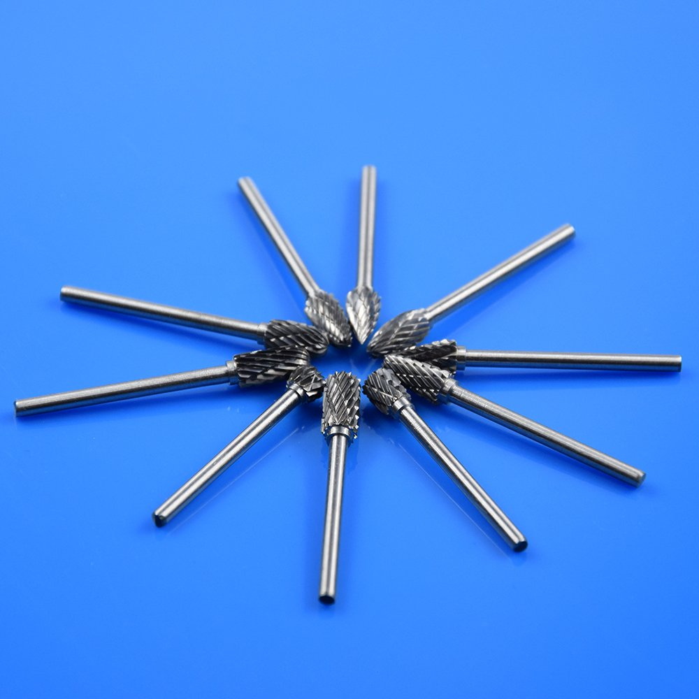 10PCS Solid Carbide Burrs for Rotary Drill Die Grinder Carving Tool Set Xuchuan