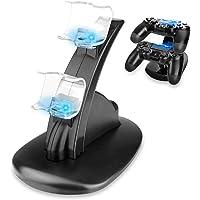 REDLEMON Cargador para Controles de Playstation 4 (PS4) con LEDs Indicadores de Carga y Base Soporte, para 2 Controles