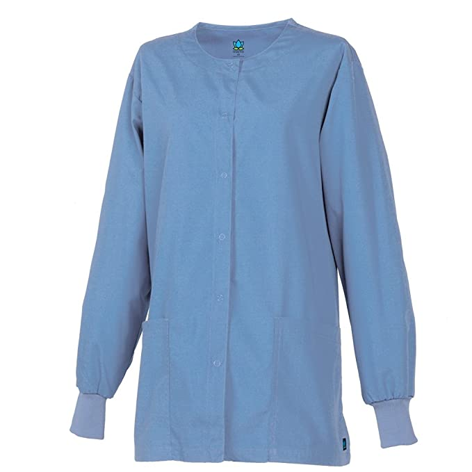 c57c51a94c8 Image Unavailable. Image not available for. Color: Core By Maevn Unisex  Round Neck Solid Scrub Jacket ...