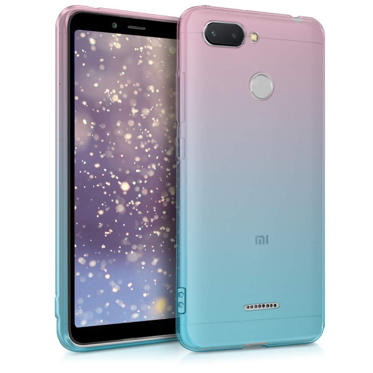 kwmobile Funda para Xiaomi Redmi 6 - Carcasa para móvil de TPU con diseño Bicolor - Rosa Fucsia/Azul/Transparente