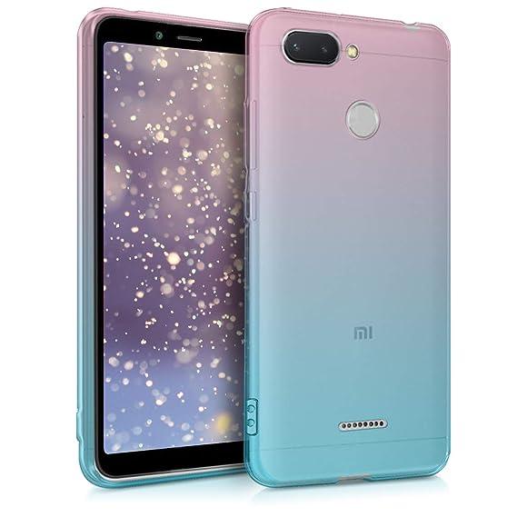 kwmobile Case for Xiaomi Redmi 6 - Clear TPU Soft Phone Cover - Bicolor Design, Dark Pink/Blue/Transparent