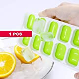 Honearn Silicone Ice Cube Trays, Flexible Ice Cube Molds, FDA Food Grade Ice Tray Molds, Ice Ball Storage Containers, Ice Cube Tray Molds with Non-Spill Lid, Best for Water, Cocktail and Other Drink (Green)