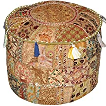 Indian Vintage Ottoman Pouf Cover ,Patchwork Ottoman, Living Room Patchwork Foot Stool Cover,Decorative Handmade Home Chair Cover 18x13 Inch.