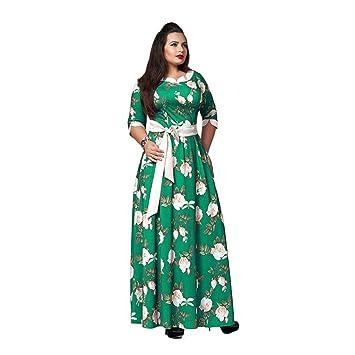 HUAN Vestido de Estampado de Mujer, Vestido de Fiesta con Cinturón de Mujer, Faldas