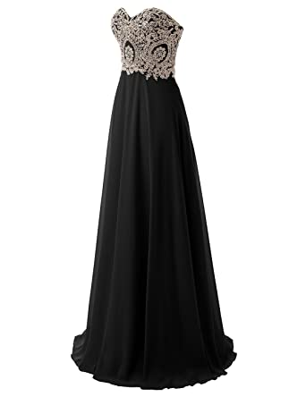 Sarahbridal Women Long Gown Prom Dresses Chiffon Party Dress with Sequins SLX214 Black Size UK 6