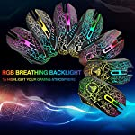 BENGOO Gaming Mouse Wired, USB Optical Computer Mice with RGB Backlit, 4 Adjustable DPI Up to 3600, Ergonomic Gamer…