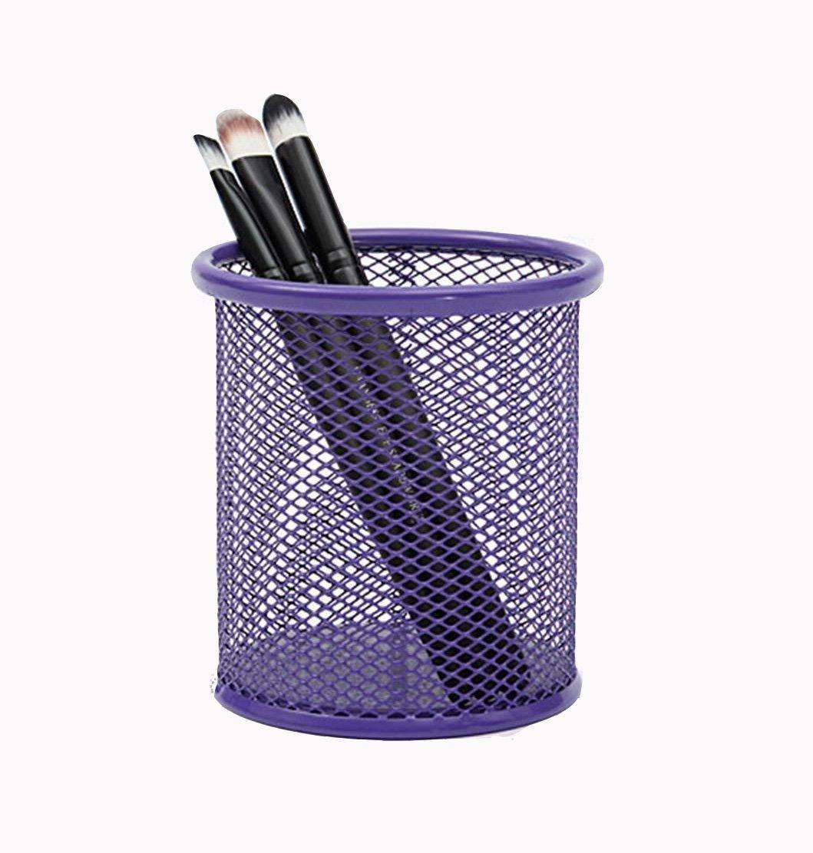 Kentop Pot /à Crayons en M/étal Rangements Stylo Organisateur de Pinceau de Maquillage Seau de Stockage de Bureau Organisateur de Bureau Porte-stylo m/étal rond stylo de stockage de bureau 1PCS Violet