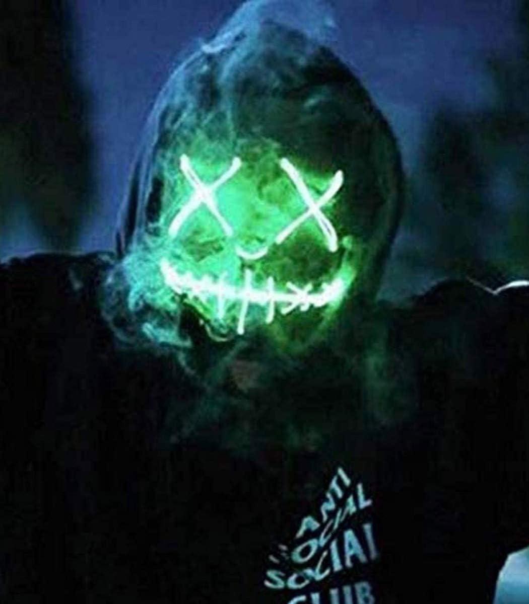 Mascaras Halloween de Terror LED M/áScara Luminosa Green Purga Grimace Mask 4 Modos de Parpadeo Controlables y Diferentes,para Decoraci/óN de Disfraces de Fiesta de Carnaval Hombres y Mujeres