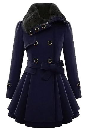 Aceshin Damen Mantel Winter Mantel Elegant Vintage Schwarz Lang Zweireihig  Revers Schlack Trenchcoat Wollmantel Wintermantel Outwear 6f70e89682