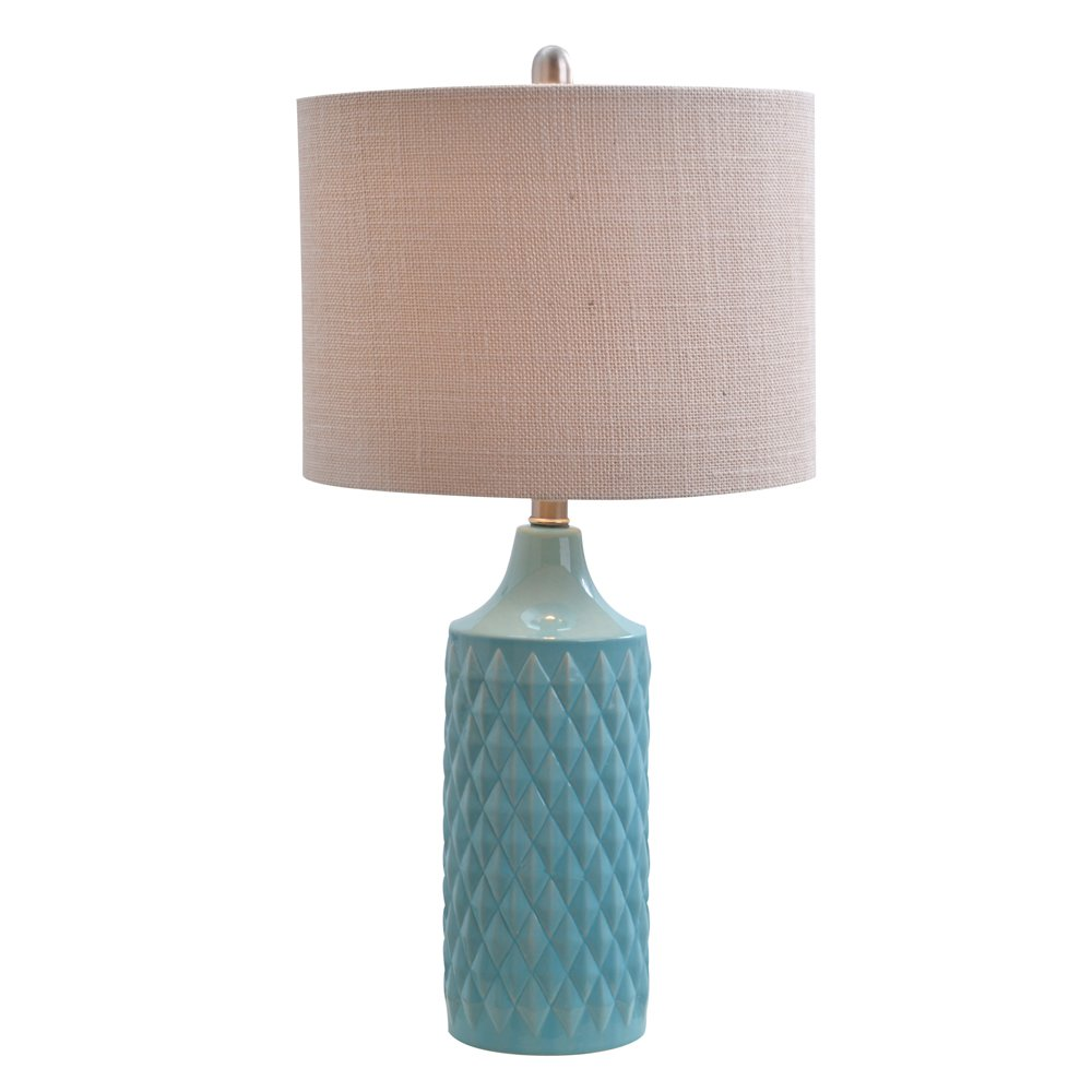 Catalina Lighting 19970-000 Cassie Catalina Rotary Switch Inch Quilted Ceramic Table Lamp with Natural Linen Drum Shade, 26.5'', Spa Blue