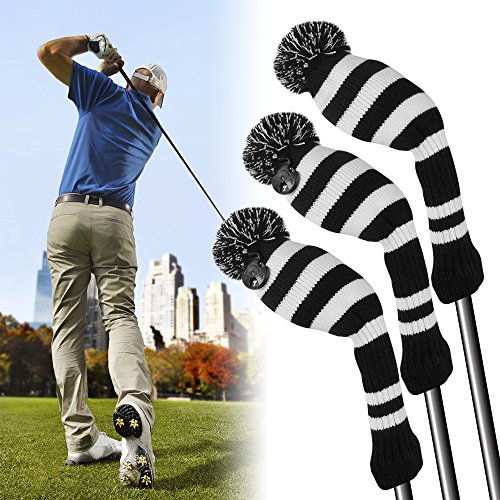 XCSOURCE Golf Club Driver Head Cover Pom Pom Golf Head Covers Irons Protective Set for Golf Bag Titleist Taylormade Callaway #1#3#5