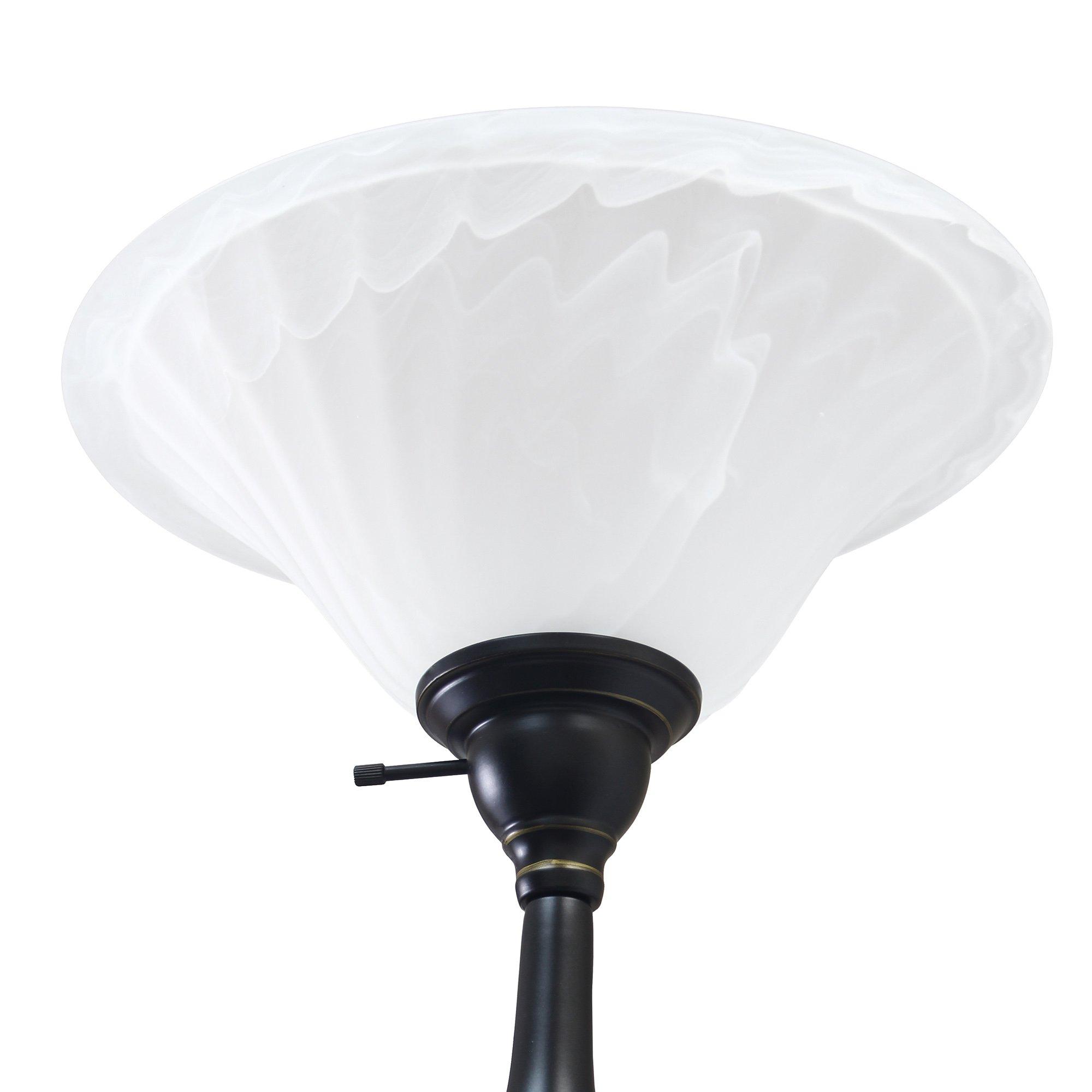 Elegant Designs LF2003-RBZ 2 Light Mother Daughter Floor Lamp with White Marble Glass,Restoration Bronze by Elegant Designs (Image #6)