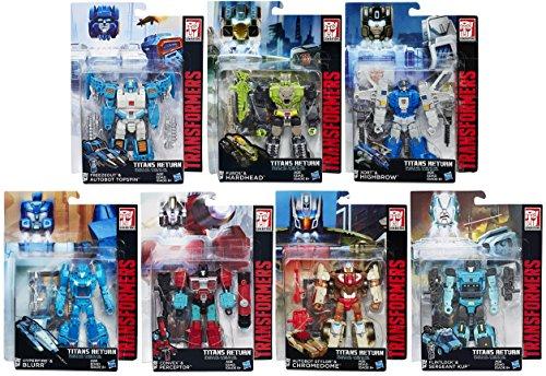Transformers Generations Titans Return Autobot Deluxe Robot Action Figure Set Topspin-Hardhead-Highbrow-Blurr-Perceptor-Chromedome-Sergeant Kup Hasbro