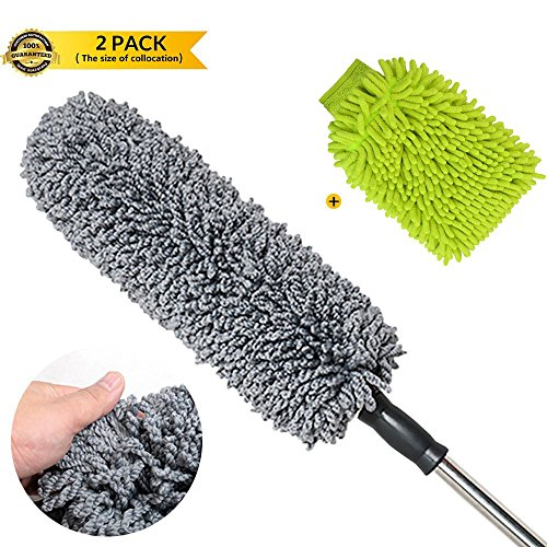 Dash Kit 2 Piece (SPAuto Ultimate Car Duster & Wash Mitt 2 Piece Cleaning Kit - Best Microfiber Multipurpose Duster Better than California - Long Extendable Handle - Exterior or Interior Use)