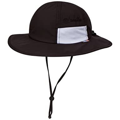 e51b8c66971ce SwimZip Unisex Child Wide Brim Sun Protection Hat UPF 50 Adjustable Black  0-6 Month