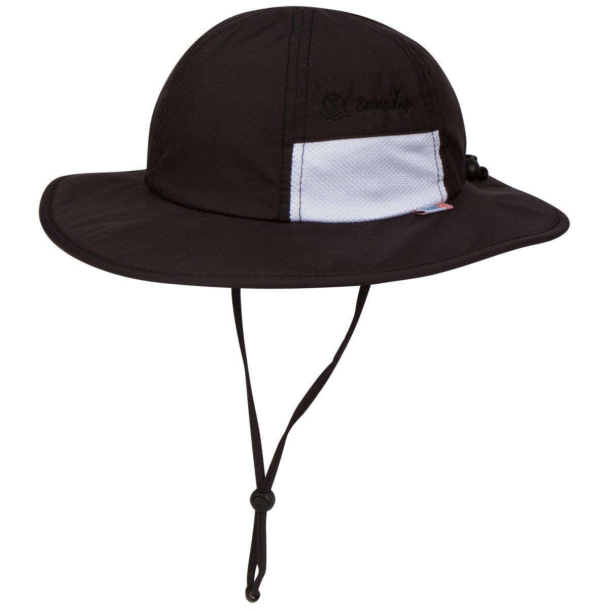 SwimZip Unisex Child Wide Brim Sun Protection Hat UPF 50 Adjustable ,Black,6-24 Mont