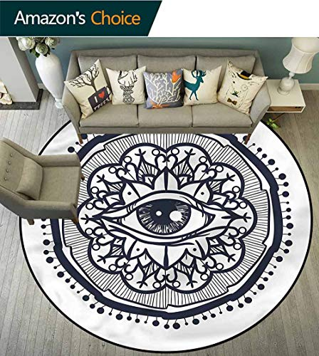 Occult Modern Washable Round Bath Mat,Retro All Seeing Eye Art Protect Floors While Securing Rug Making Vacuuming Round-59