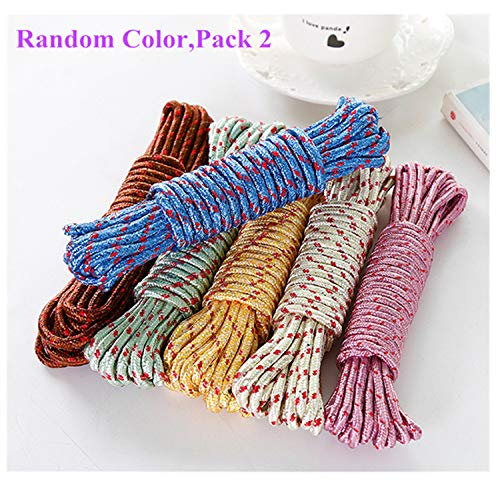 10M Heavy Duty Laundry Drying Clothesline Rope Portable Travel Nylon Cord Sturdy Clothes Line for Outdoor,Camping,Indoor,Crafting,Art Projects,Random Color Pack 2