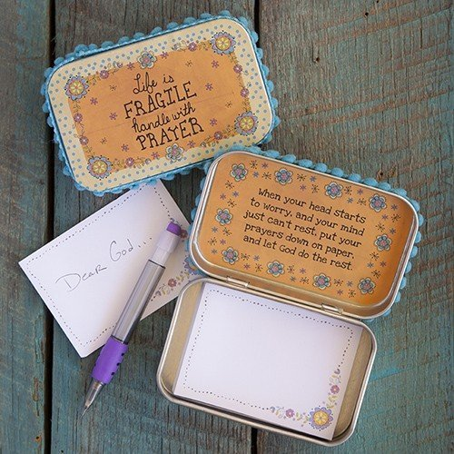 "Natural Life Inspirational ""Life is fragile handle with prayer"" Memory Prayer Box with Pen and Notecards"