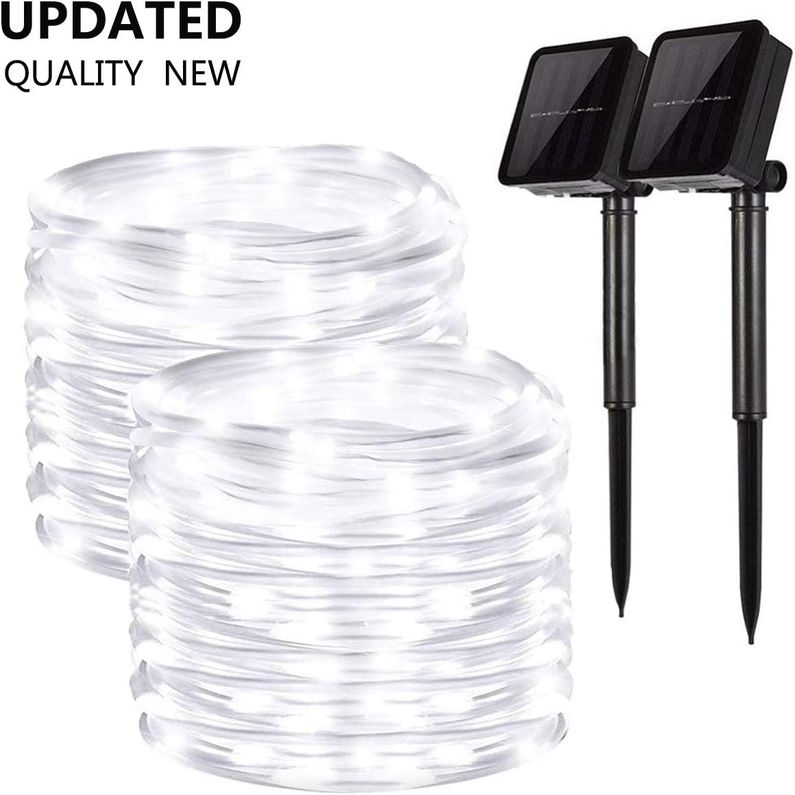 Solar String Lights Outdoor, 2 Pack 100 LED Solar Rope Lights 8 Modes Copper Wire Fairy Lights Waterproof Outdoor PVC Tube String Lights for Garden Fence Yard Summer Party Wedding Decor (Cool White)