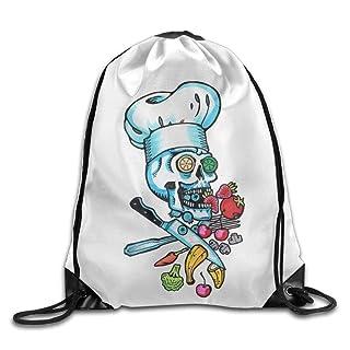 Trsdshorts Unisex Cool Chef Skull Print Drawstring Backpack Rucksack Shoulder Bags Gym Bag Sport Bag