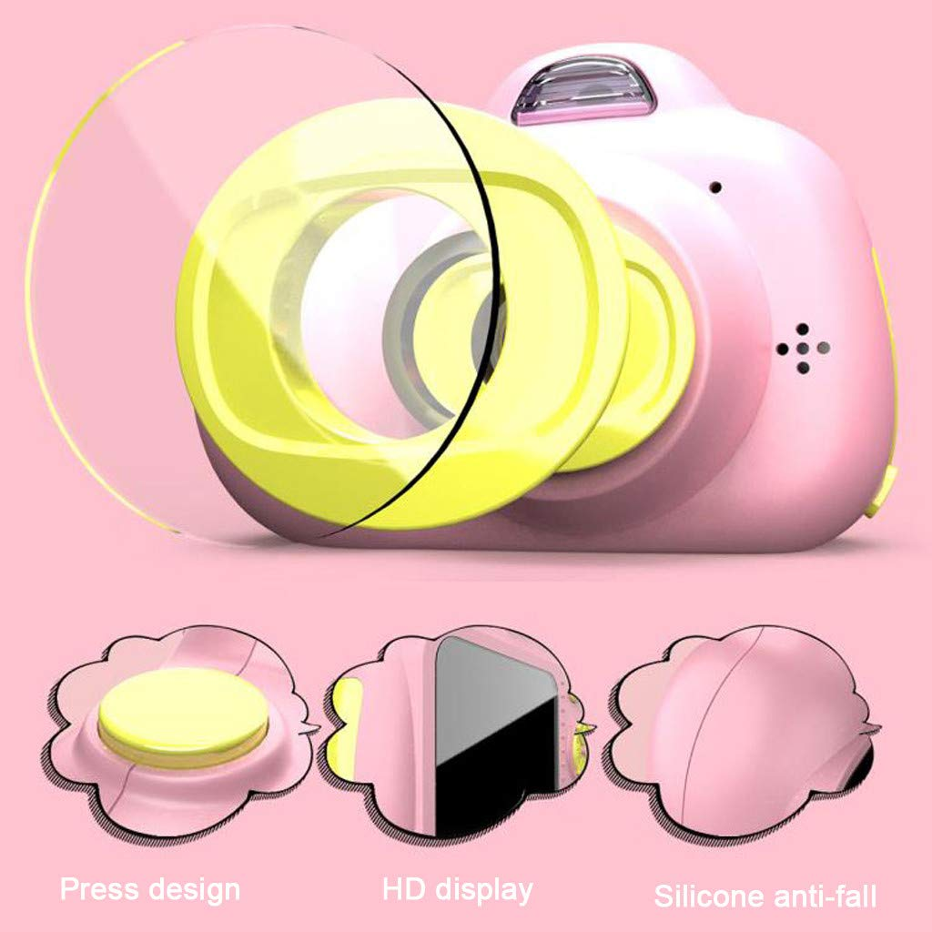 Kids Compact Camera Toys Witspace 8MP HD Video Camera Gifts Front/Rear Cameras Battery Powered for Aged 3-10 (Pink) by Witspace-Toys and Games (Image #3)