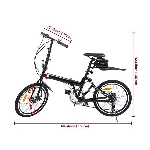 Ridgeyard Bicicleta Plegable 20 Pulgadas de 6 velocidades Bici Plegable + Luz de la batería del LED + Asiento Bag + Bell de la Bici (Negro): Amazon.es: ...