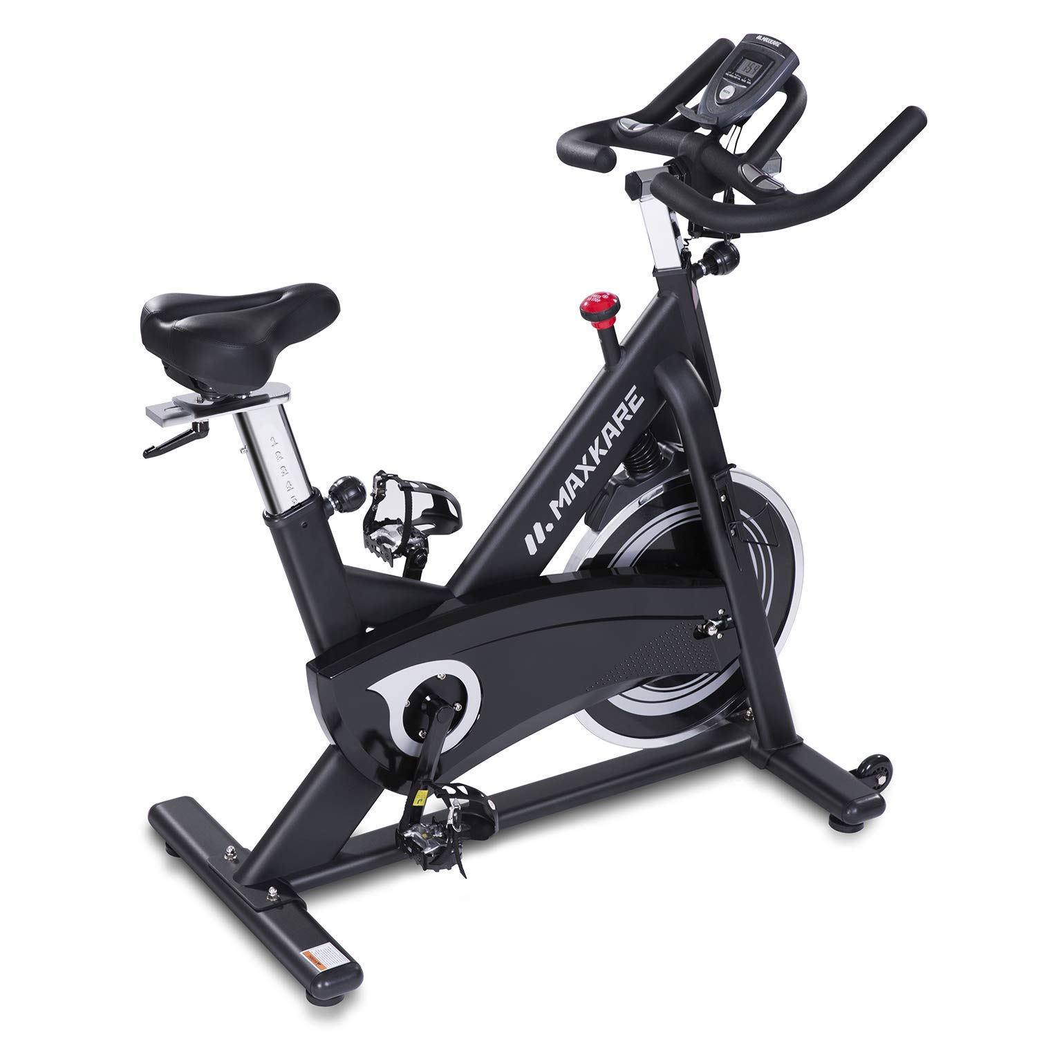 MaxKare Stationary Bike Belt Drive Spin Bike with Quiet Flywheel & Pulse Sensor/LCD Monitor/Ipad Mount Pro Indoor Cycling Bike Exercise Bike w/Adjustable Handlebar for Home Cardio Gym Workout (Black)