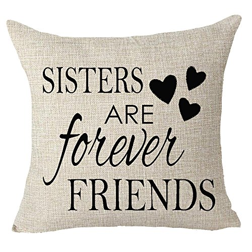 Throw Sister Pillow (FELENIW Best gift to sister friend sister are forever friend Throw Pillow Cover Cushion Case Cotton Linen Material Decorative 18X18Inches)