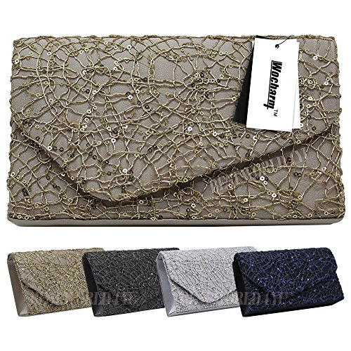 Evening Handbag Wocharm Crossed Tote Wallet Sequins Dazzling Purse Womens Party Clutch New Black OXX1qr0