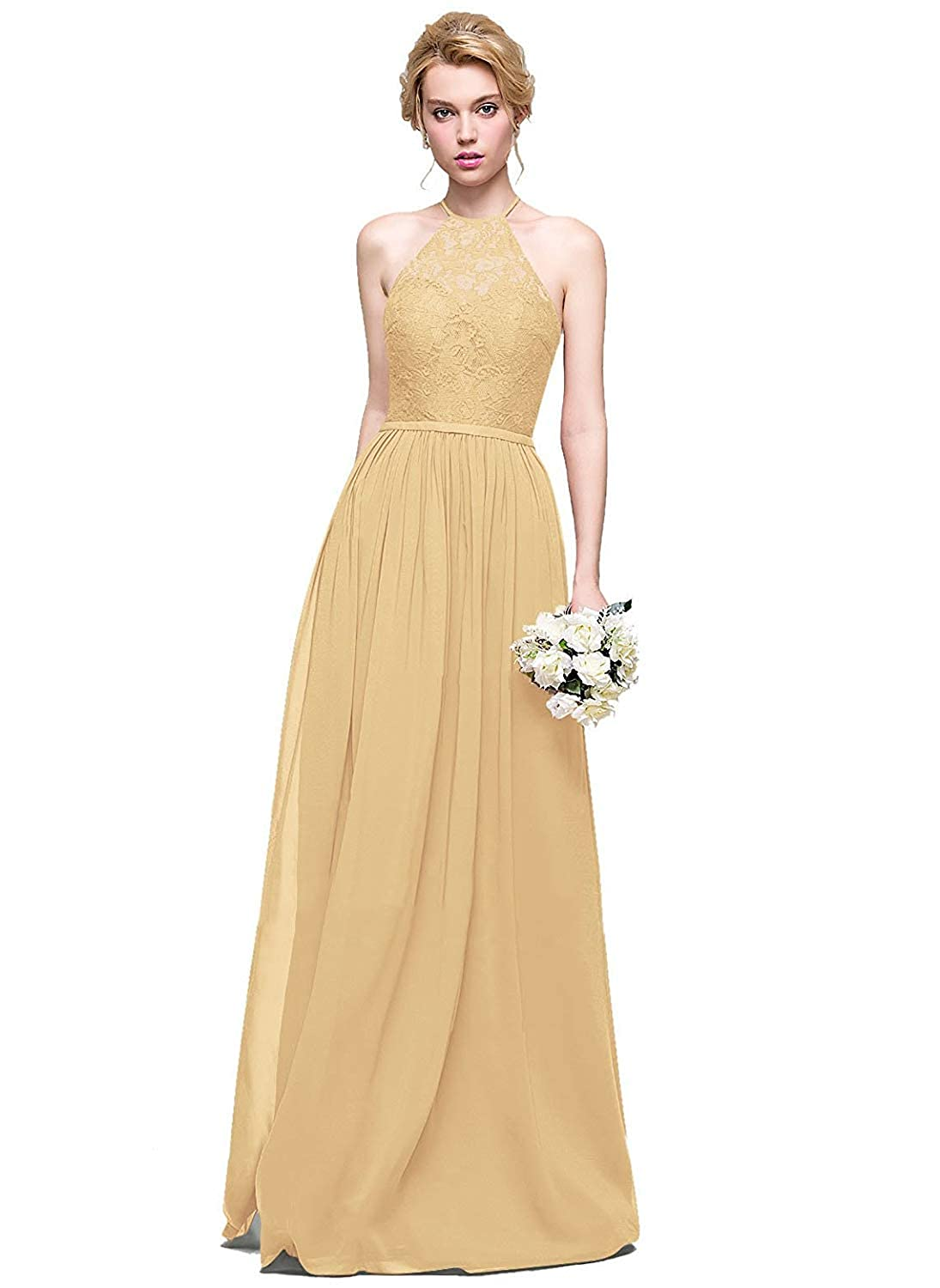 gold Halter Lace Sweetheart Neck Bridesmaid Dresses Long Prom Evening Gown